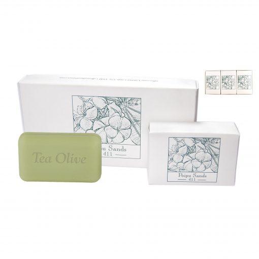 Tea Olive Spa Bar Soap 3 pack of 4oz. bars in Custom Printed Gift Box