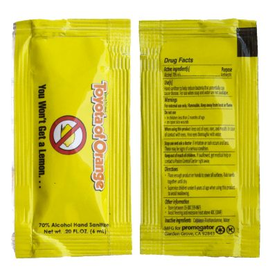 Hand Sanitizer Sachet Gel Packet Yellow