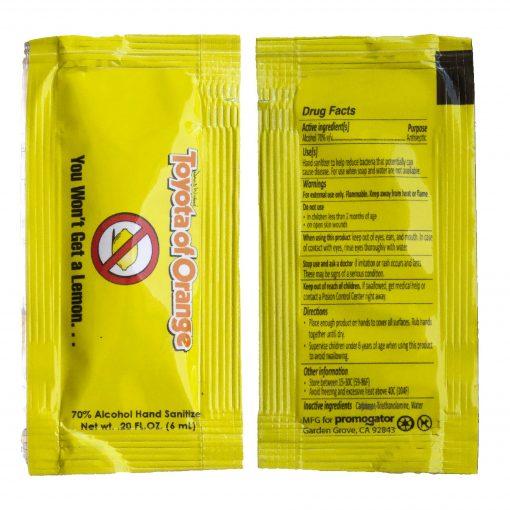 Hand Sanitizer Sachet Gel Packet Yellow