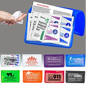 Sanitizer & Wipes On-the-Go Kit in Colorful Vinyl Pouch