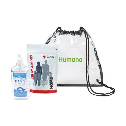 American Red Cross Home First Aid Zip Kit and Hand Sanitizer Bundle - Clear