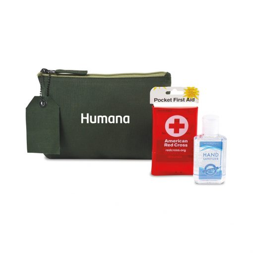 American Red Cross Pocket First Aid and Hand Sanitizer Bundle - Deep Forest Green