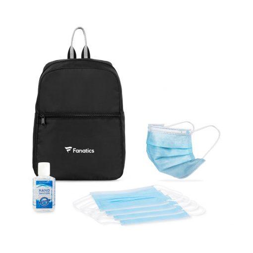 Ready to Go Single Use Face Masks (5 pack) PPE Kit - Black-Sky Blue