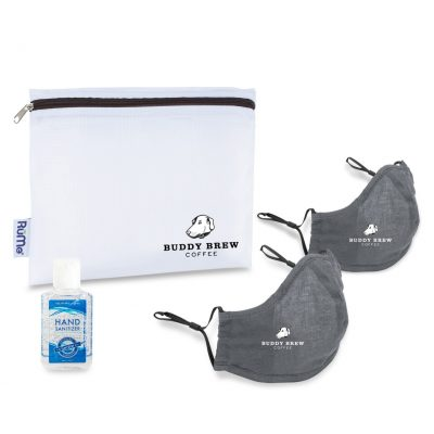 Reusable Face Masks (2 pack) and Hand Sanitizer Kit - Gunmetal Grey