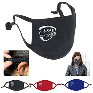 3-Ply Comfort Fit Face Mask 95% Cotton Washable and Reusable with Newly Added Ear Loop Size Adjuster