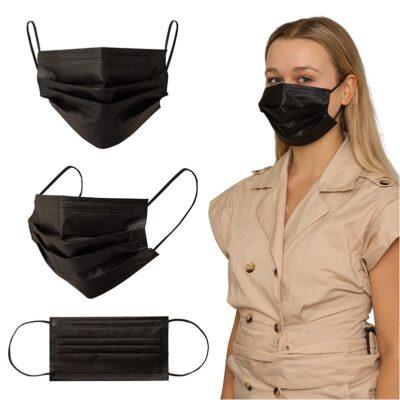 Shield IV Box of 50pcs Black Disposable Face Masks