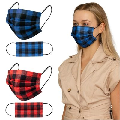 Shield V Box of 50pcs Plaid Disposable Face Masks