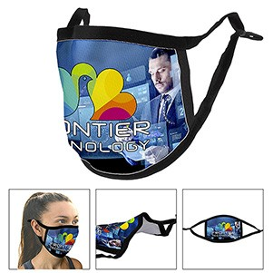 Full Color Sublimation Face Mask with Flexible Nose Bridge Wire with Ear Loop Adjusters