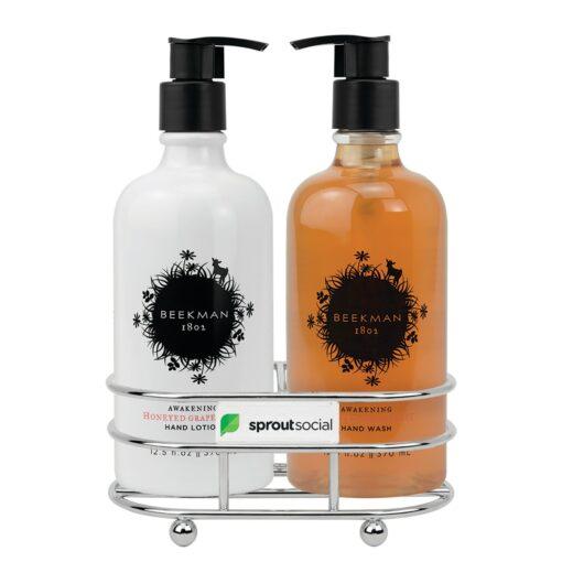 Beekman 1802® Honeyed Grapefruit Soap & Lotion Gift Set - Chrome Plated Metal - Beekman