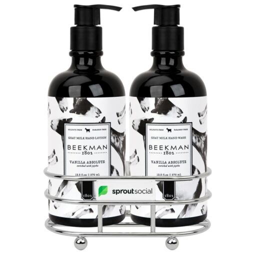 Beekman 1802® Vanilla Absolut Soap & Lotion Gift Set - Chrome Plated Metal - Beekman